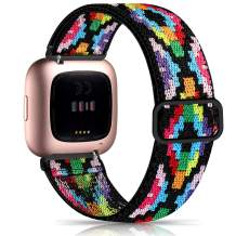 Witzon Elastic Bands Compatible with Fitbit Versa 2 / Versa/Versa Lite, Soft Loop Nylon Fabric Breathable Stretchy Replacement Straps for Versa Smartwatch Wristband for Women Men, Colorful Aztec