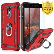TJS Phone Case for LG Aristo 4,Aristo 4 Plus +,Escape Plus,K30 2019,Arena 2,Tribute Royal,Journey LTE, with [Full Coverage Tempered Glass Screen Protector] Metal Ring Magnetic Support Cover (Red)