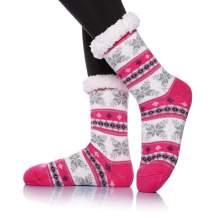 Womens Winter Soft Snowflake Slipper Socks Cozy Warm Heavy Thick Fleece Lining Knit Stockings Fuzzy Christmas Home Socks
