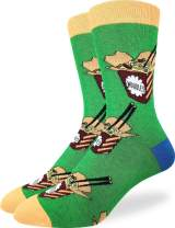 Good Luck Sock Men's Noodles Socks - Green, Adult Shoe Size 7-12