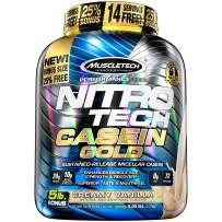 MuscleTech NitroTech Casein Gold Protein Powder, Sustained-Release Micellar Casein, Creamy Vanilla, 5lbs