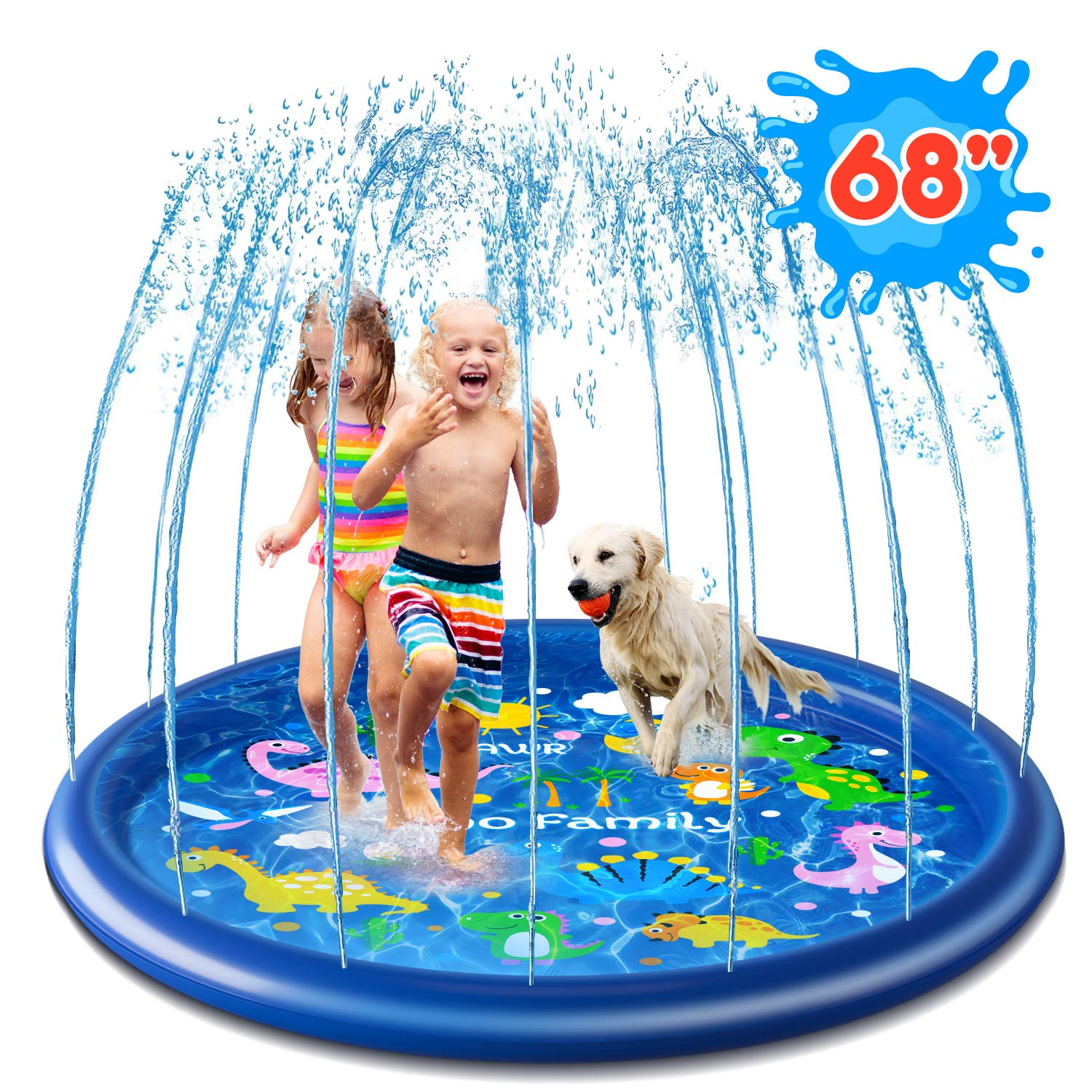 """Ohuhu Splash Sprinkler Pad for Kids Toddlers, 68"""" Splash Play Mat, Outdoor Inflatable Water Play Sprinkler Pad for Boys Girls Summer Spray Water Toys, Wading Swimming Pool for Babies and Toddlers"""