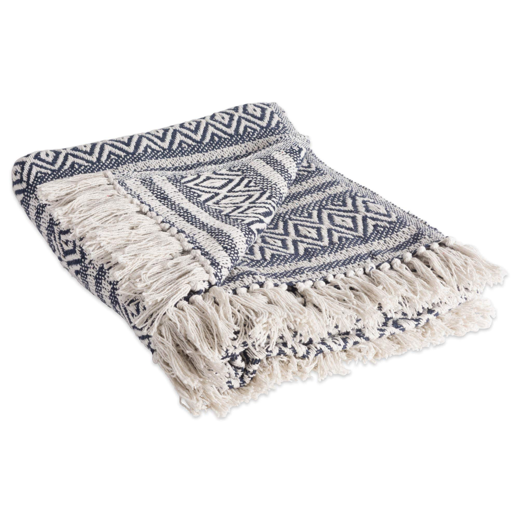 """DII Rustic Farmhouse Cotton Adobe Stripe Blanket Throw with Fringe For Chair, Couch, Picnic, Camping, Beach, & Everyday Use , 50 x 60"""" - Adobe Stripe Navy"""