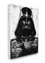 The Stupell Home Décor Collection Black and White Star Wars Darth Vader Distressed Wood Etching Stretched Canvas Wall Art, 24 x 30, Multi-Color