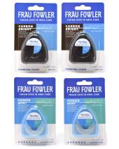 NEW eoFLOSS Dental Floss- Power Mint & Carbon Bright, 4 Pack, Infused with Organic Essential Oils, Xylitol & Activated Charcoal by FRAU FOWLER, 50m (54.6yds) each