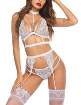 Avidlove Lace Garter Lingerie Set with Removable Choker Teddy Babydoll Strappy Bra and Panty Set (No Stockings)