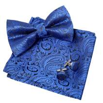 Alizeal Mens Paisley Suit Bow Tie, Hanky and Cufflinks Set