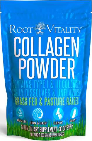 Root Vitality Collagen Powder, Collagen Peptides, Grass Fed, Premium Quality Collagen Protein, Pasture Raised, Easily Dissolves, Keto & Paleo Friendly, Non-GMO, 300 Grams