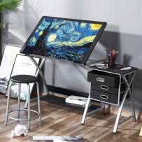 Kealive Drafting Table Adjustable Drawing Desk, X Cross Art Desk Craft Station with 3 Storage Drawers Padded Stool and Thick MDF Desktop