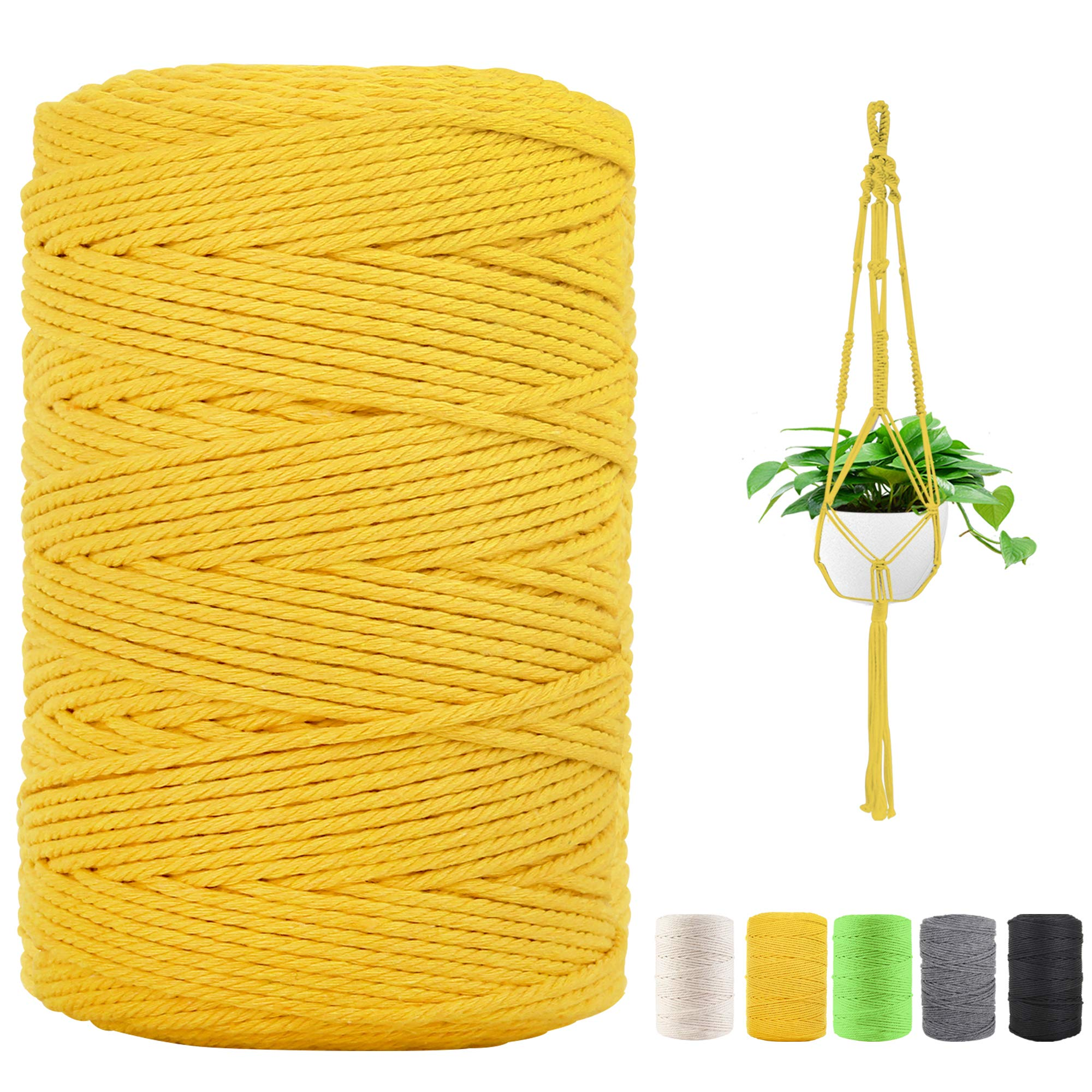 Macrame Cord 3 mm x 220 Yards, Natural Cotton Macrame Rope, 4 Strand Twisted Yellow Cotton Cord for Plant Hanger, Wall Hanging, DIY Craft Knitting and Wedding Decor