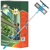 """SCRUBIT Extendable Squeegee Window Cleaner- Window Cleaning Tool with Microfiber Scrubber & Spray Head - 58"""" Long Extension Pole for High Windows and Outdoor Glass Washing - Shower Cleaning Kit"""