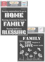 CrafTreat Family Stencils for painting on Wood, Canvas, Paper, Fabric,Wall - Family Blessing and Family Love - 2 Pcs - 6x6 Inches each - Reusable DIY Art and Craft Stencils for Home Decor - Quotes