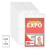MIFFLIN 2-Pocket Conference ID Badge Holder (Clear, 100 Pack), Quick Load No Zip Trade Show Card Holder