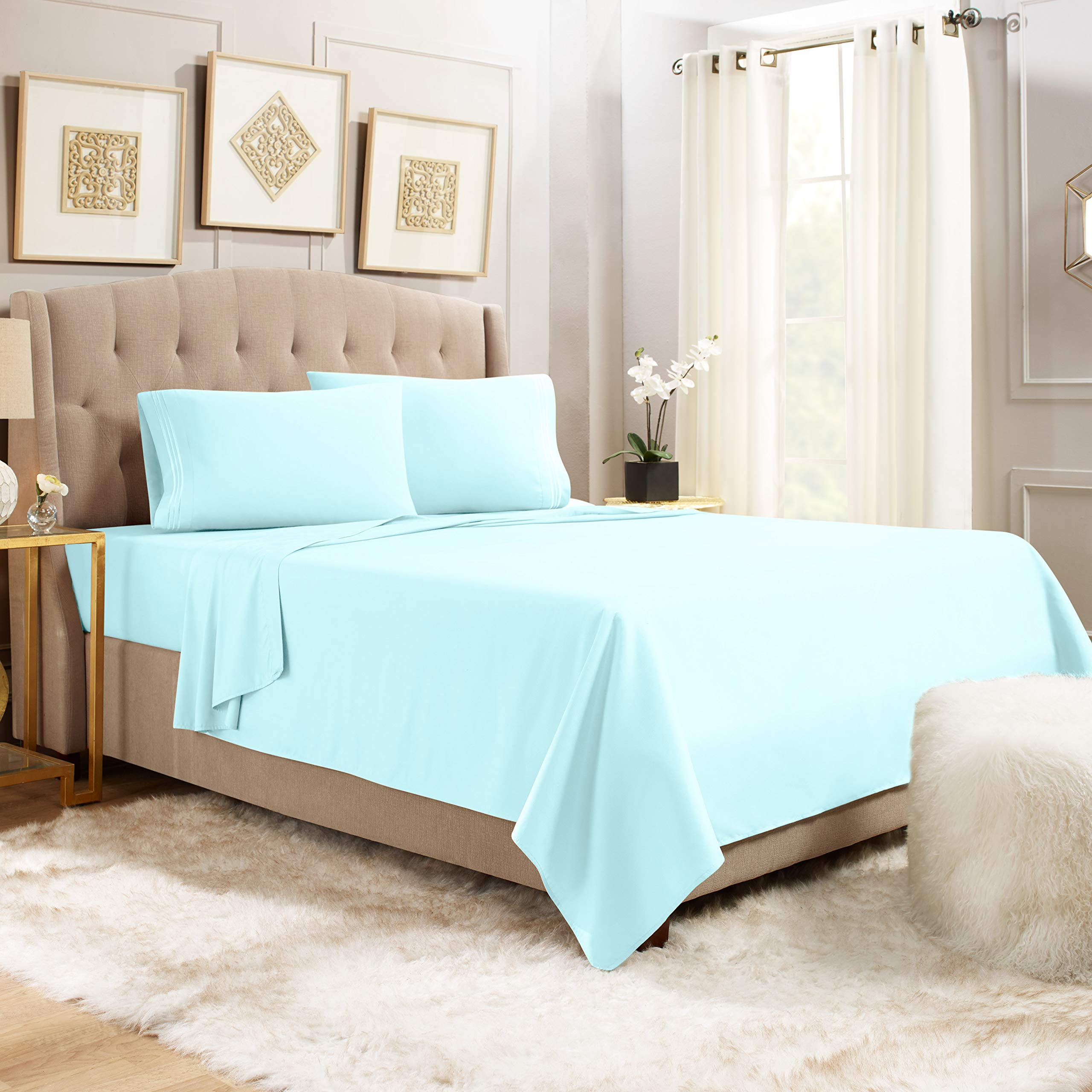 """Empyrean Bedding 14"""" - 16"""" Deep Pocket Fitted Sheet 4 Piece Set - Super Soft Double Brushed Microfiber Top Sheet - Wrinkle Free Fitted Bed Sheet, Flat Sheet and 2 Pillow Cases - King, Light Blue"""