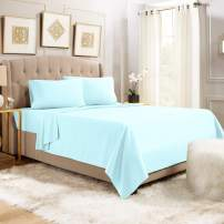 """Empyrean Bedding 14"""" - 16"""" Deep Pocket Fitted Sheet 3 Piece Set - Super Soft Double Brushed Microfiber Top Sheet - Wrinkle Free Fitted Bed Sheet, Flat Sheet and 1 Pillow Case - Twin XL, Light Blue"""
