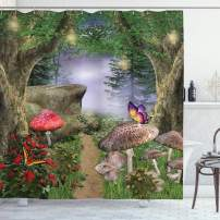 """Ambesonne Mushroom Shower Curtain, Enchanted Nature Pathway with Butterflies Fairytale Landscape Rocks, Cloth Fabric Bathroom Decor Set with Hooks, 70"""" Long, Green Red"""
