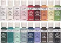 Martha Stewart Crafts 18 Bottle Multi-Surface Acrylic Paint Set that is Trend Inspired, Non-Toxic, Dries to a Satin Finish and is Perfect for Artists and Craft Painters, Top Colors