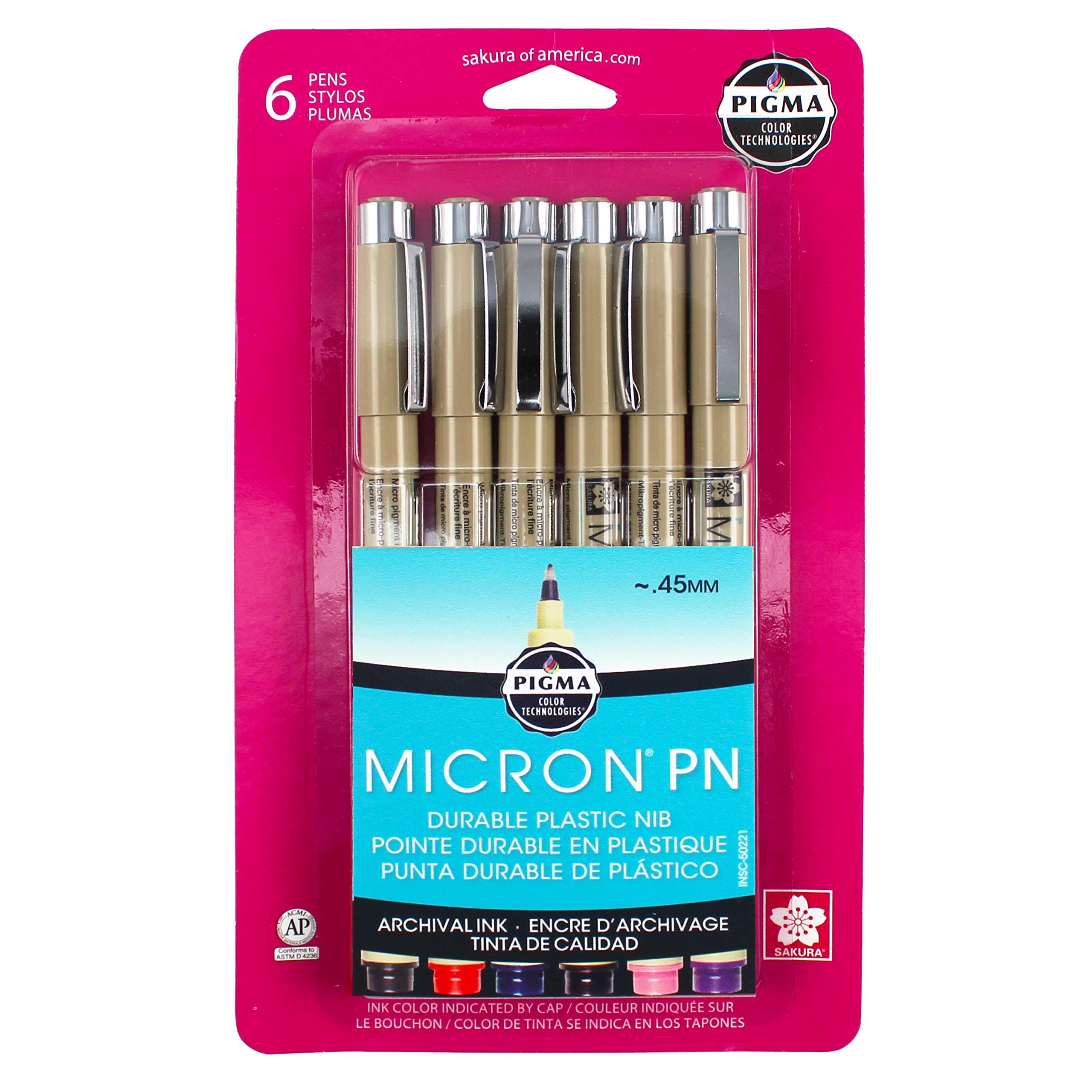 Sakura Pigma 50221 Micron Blister Card Ink Pen Set, Ass't Colors, PN 6CT