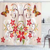 """Ambesonne Floral Shower Curtain, Butterflies and Flourishing Swirled Blossoms Bouquet Botany Image, Cloth Fabric Bathroom Decor Set with Hooks, 75"""" Long, Beige Green"""