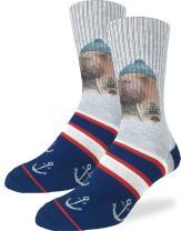 Good Luck Sock Men's Walrus Sailor Crew Socks - Blue, Adult Shoe Size 8-13