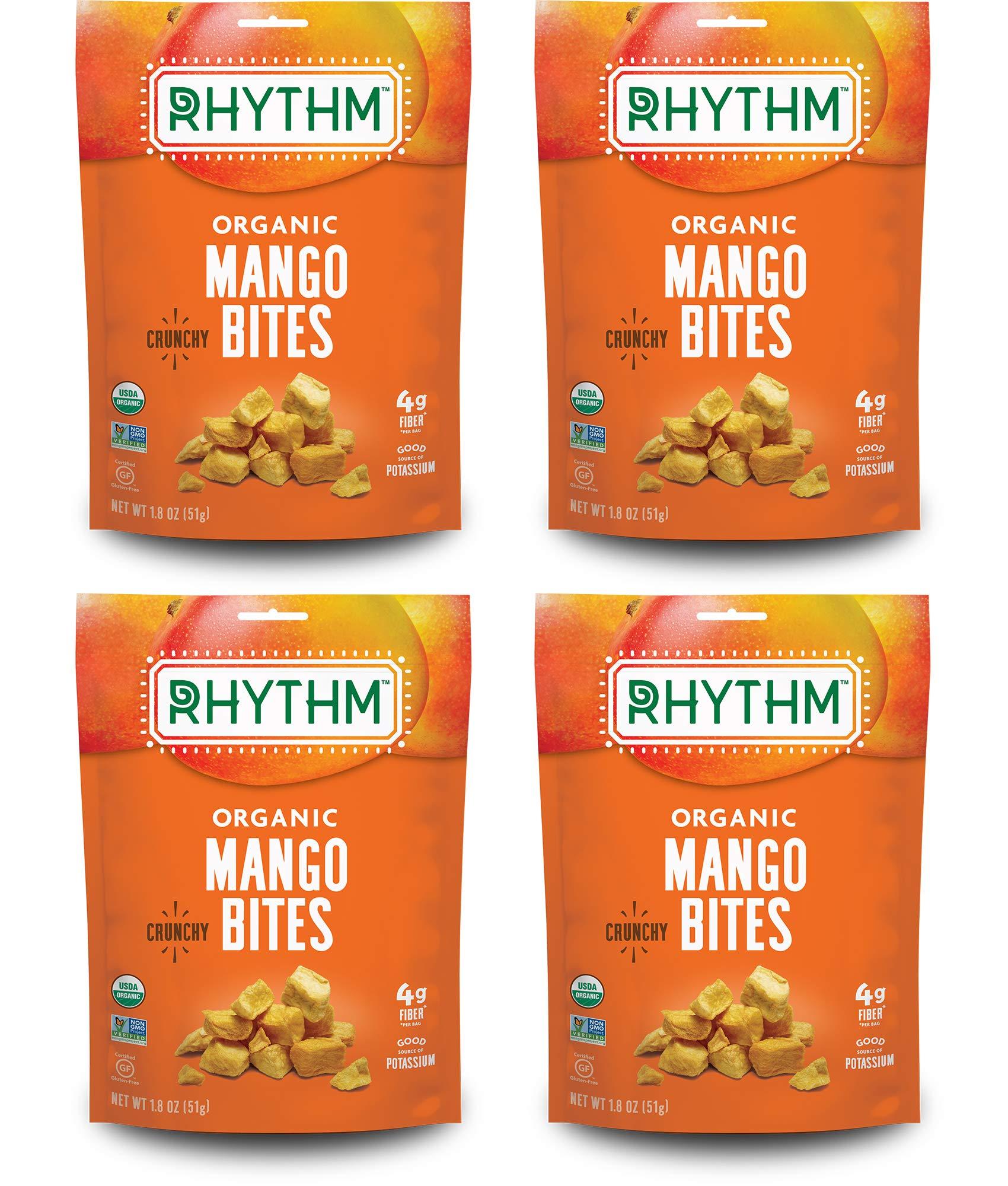 Rhythm Superfoods Crunchy Mango Bites, Organic & Non-GMO, 1.8 Oz (Pack Of 4), Vegan/Gluten-Free Dehydrated Sweet Fruit Snacks