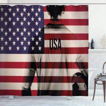 """Ambesonne Soccer Shower Curtain, Composite Double Exposure Image of a Soccer Player and American Flag USA Run, Cloth Fabric Bathroom Decor Set with Hooks, 75"""" Long, Blue Red"""
