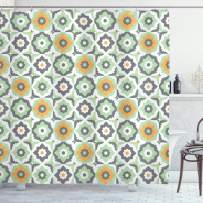 """Ambesonne Quatrefoil Shower Curtain, Lotus Floral Shapes Moroccan Tile Pattern Eastern Inspired Retro Print, Cloth Fabric Bathroom Decor Set with Hooks, 70"""" Long, Green White"""