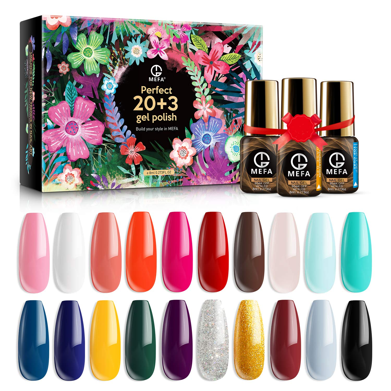 MEFA Gel Nail Polish Set 23 Pcs Gifts Box - Soak Off UV LED Color Gel Varnish with No Wipe Base and Glossy Matte Top Coat for Nail Art Salon Design Manicure Starter Set