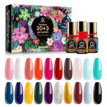 MEFA Gel Nail Polish Set 23 Pcs Gifts Box - Soak Off UV LED Color Gel Varnish with No Wipe Base and Glossy Matte Top Coat for Nail Art Salon Design Manicure Starter Set