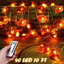Thanksgiving Fall Acorn Light String 19.6 Feet 40 LED Battery Thanksgiving Indoor Outdoor Decorations with Remote Control Timer, Thanksgiving Decor Fairy Lights Christmas String Lights