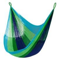 Yellow Leaf Hammocks SHA Lanta Hanging Chair Hammock Swing, Fits 1 Person (330 lb.), Blue & Green
