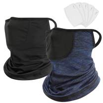 2 Pack Ear Loops Neck Gaiter with Filters Breathable Face Cover Scarf Balaclava