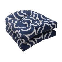 """Pillow Perfect Outdoor/Indoor Carmody Navy Tufted Seat Cushions (Round Back), 19"""" x 19"""", 2 Pack"""