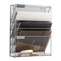 Mesh Hanging Wall File Organizer 5 Tier Vertical Mount, Durable Wall File Holder with Bottom Flat Tray for Office Home, Silver