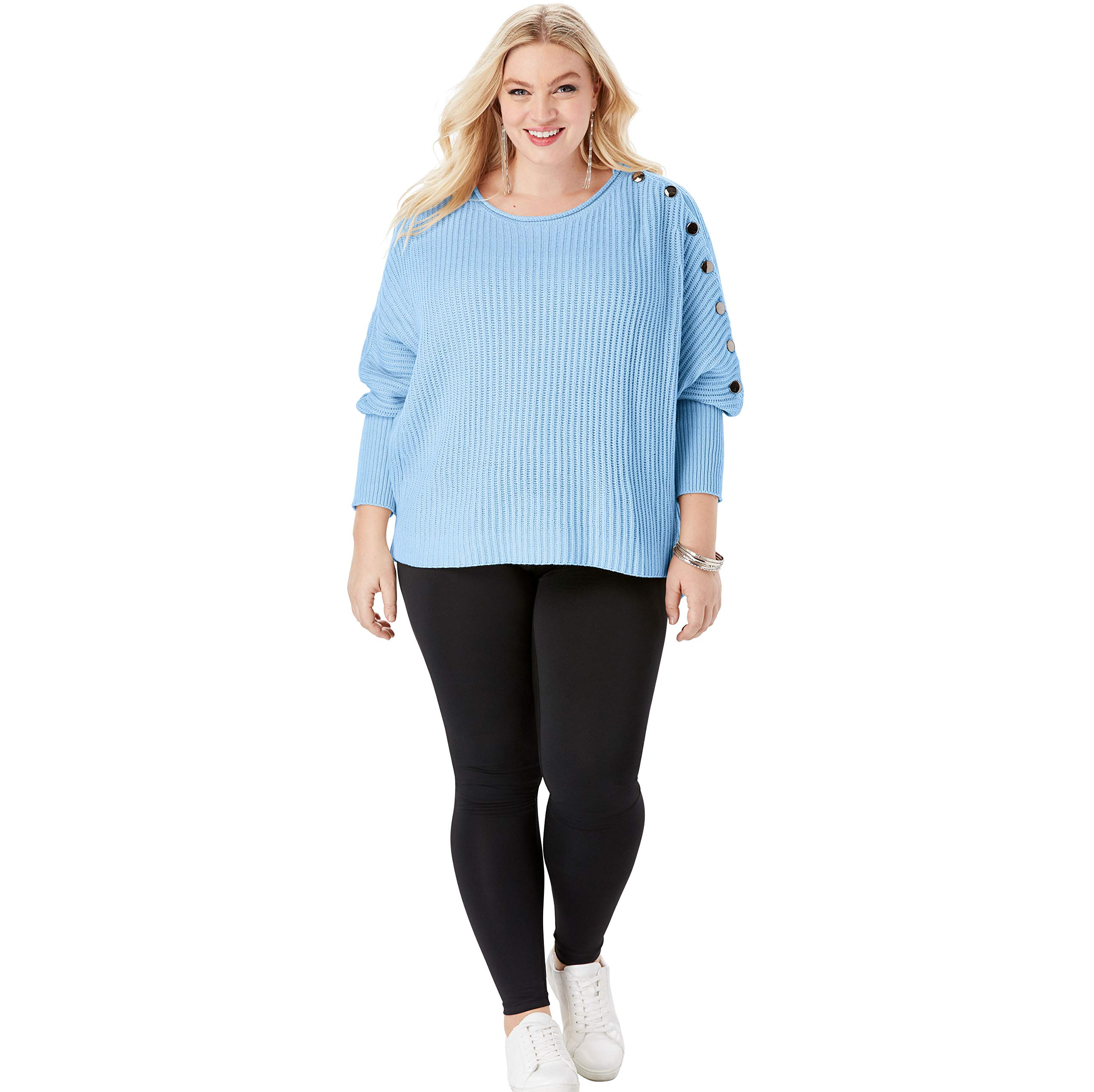 Roamans Women's Plus Size Button-Sleeve Sweater in Shaker Stitch