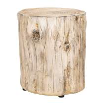 Ball & Cast HSA-M003 End Living rooom, Faux Wood Stump Accent Table, Grey white