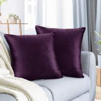 "Nestl Bedding Throw Pillow Cover 24"" x 24"" Soft Square Decorative Throw Pillow Covers Cozy Velvet Cushion Case for Sofa Couch Bedroom, Set of 2, Eggplant Purple"