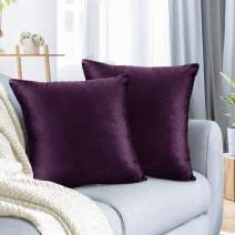 """Nestl Bedding Throw Pillow Cover 24"""" x 24"""" Soft Square Decorative Throw Pillow Covers Cozy Velvet Cushion Case for Sofa Couch Bedroom, Set of 2, Eggplant Purple"""