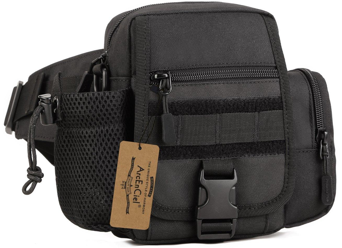 ArcEnCiel Tactical Fanny Pack Waist Bag Military Hip Belt Outdoor Bumbag with Water Bottle Pocket Holder