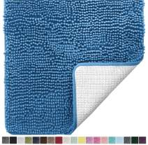 Gorilla Grip Original Luxury Chenille Bathroom Rug Mat, 44x26, Extra Soft and Absorbent Large Shaggy Rugs, Machine Wash Dry, Perfect Plush Carpet Mats for Tub, Shower, and Bath Room, Blue