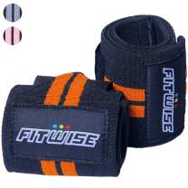 """FITWISE Wrist Wraps for Weightlifting Cross fit Training Workout Gym Power Lifting Bodybuilding 18"""" Professional Grade Thumb Loops Wrist Straps Support Braces -Men Women"""