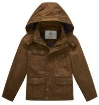 WenVen Boy's & Girl's Cotton Jackets with Removable Hood