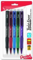 Pentel Twist-Erase Express Automatic Pencil, 0.7mm, Medium Line, Assorted Fashion Colors, 5 Pack (QE417FBP5M)