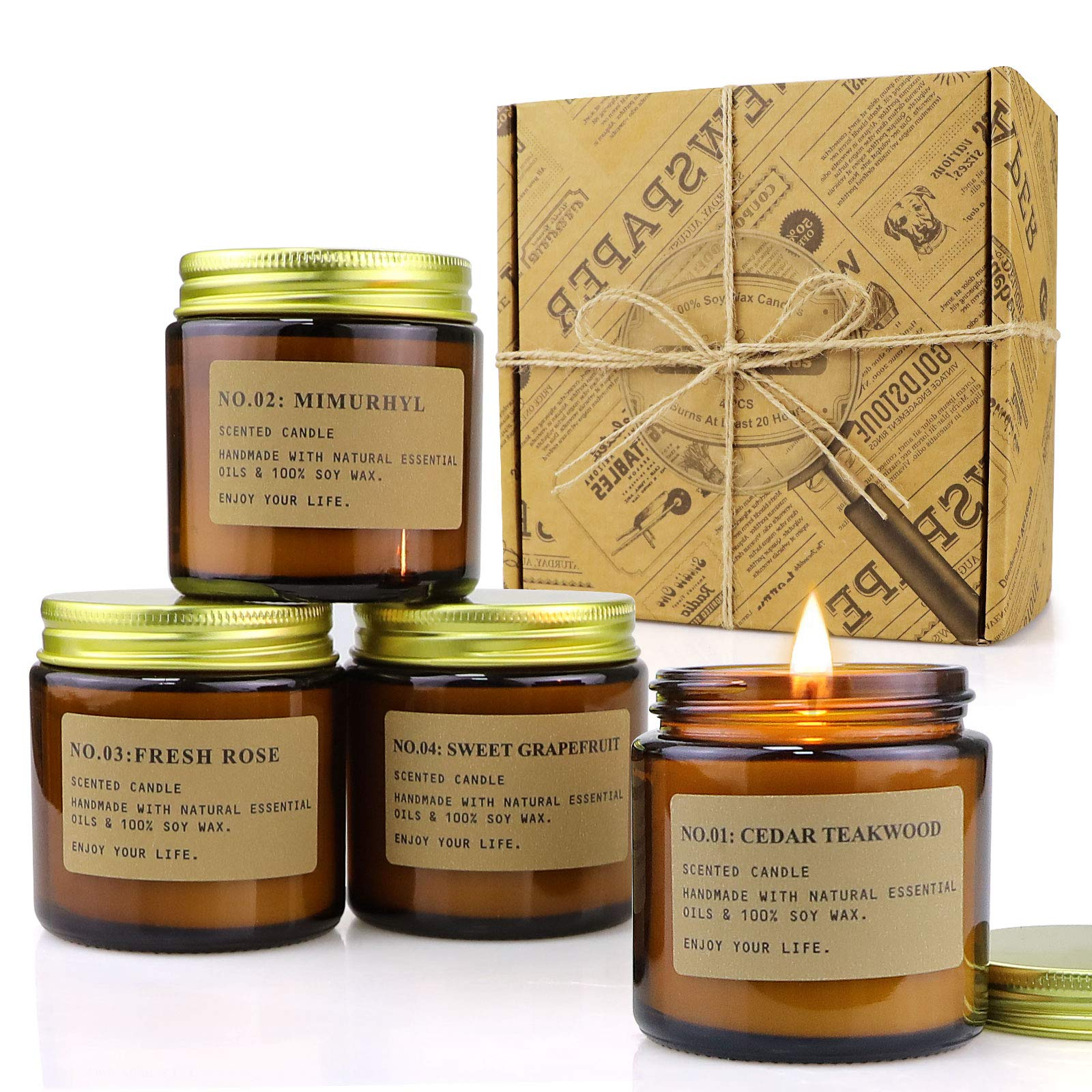 4 Pack Scented Candle Set Soy Wax Candles, Aromatherapy Candles for Home Decoration, Gift for Women with Amber Glass Jars and Kraft Wrapping