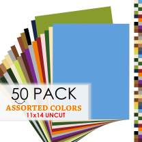 Golden State Art, Pack of 50 Uncut 11x14 Mats - Assorted Colors - Bevel Cut, Acid Free, 4-ply Thickness White Core - Great for Frames, Artworks, Prints, Pictures, Photos