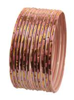 "Touchstone ""Colorful Dozen Bangle Collection Traditional and Innovative Textured Golden Fringes Indian Bollywood Designer Jewelry Metal Bangle Bracelets for Women. Set of 12."