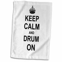 """3D Rose Keep Calm Carry On Drumming-Gift for Drummer Percussionist Musicians Fun Funny Humor Towel, 15"""" x 22"""", Multicolor"""