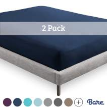 Bare Home 2-Pack Fitted Bottom Sheets Queen - Premium 1800 Ultra-Soft Wrinkle Resistant Microfiber - Hypoallergenic - Deep Pocket (Queen, Dark Blue)