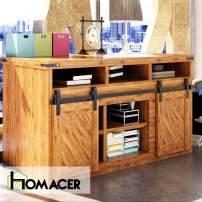 Homacer Sliding Barn Door Hardware Mini Standard Double Door Kit, 36-inch Flat Track Classic Design Roller, Black Rustic Cabinet TV Stand Console Use