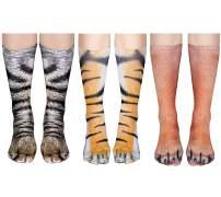 Animal Paw Socks Unisex 3D Print Cat/Dog/Tiger Novelty Stockings for Women Men White Elephant Gag Gifts Prank Christmas Party Favors 3 Pairs